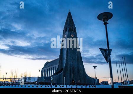 Exterior view of Hallgrimskirkja, the cathedral in Reykjavik, Iceland.