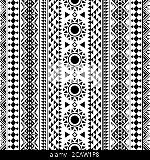 Ethnic seamless pattern tribal style texture background in black and white color - Stock Photo