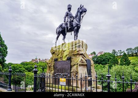 The Royal Scots Greys Monument statue in West Princes Street Gardens, - Stock Photo
