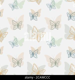 Butterflies seamless pattern design in color. Colorful vector butterfly pattern for print, background, fabric. - Stock Photo