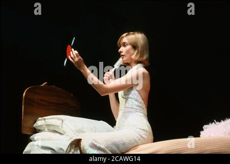 THE RISE AND FALL OF LITTLE VOICE by Jim Cartwright music: Terry Davies design: William Dudley lighting: Mick Hughes movement: Jane Gibson director: Sam Mendes  Jane Horrocks (Little Voice) Cottesloe Theatre, National Theatre (NT), London SE1 16/06/1992 (c) Donald Cooper - Stock Photo