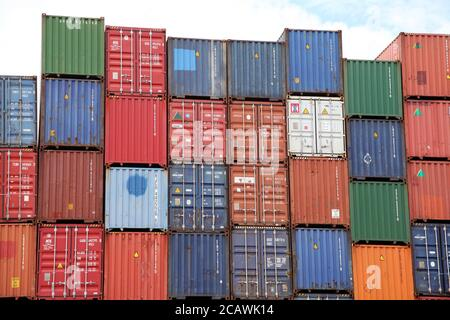 Southampton Port Shipping Containers stacked, Dock Gate 10, Southern Road, Southampton, England, UK, August 2020 - Stock Photo