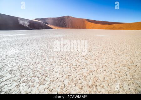 Deadvlei, or Dead Vlei, a white clay pan located near the more famous salt pan of Sossusvlei, inside the Namib-Naukluft Park in Namibia