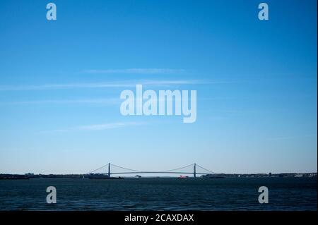 NY harbor and Verrazzano Narrows Bridge views from Liberty State Park. Jersey City, NJ.