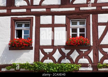 geography / travel, Germany, Bavaria, Volkach, half-timbered house at marketplace in Volkach, Lower Fr, Additional-Rights-Clearance-Info-Not-Available - Stock Photo