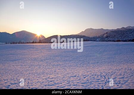 geography / travel, Germany, Bavaria, Grossweil, winter landscape, Herzogstand (peak), Jochberg (peak), Additional-Rights-Clearance-Info-Not-Available - Stock Photo