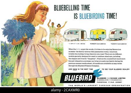 1960 British advertisement for Bluebird caravans. - Stock Photo