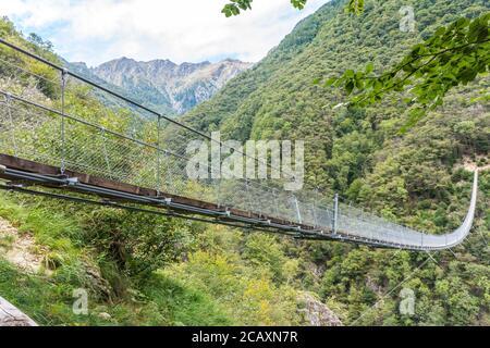 Ponte Tibetano Carasc - suspended tibetan bridge that separates the communities of Sementina and Monte Carasso, Canton Ticino, Switzerland