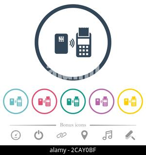 Contactless payment flat color icons in round outlines. 6 bonus icons included. - Stock Photo