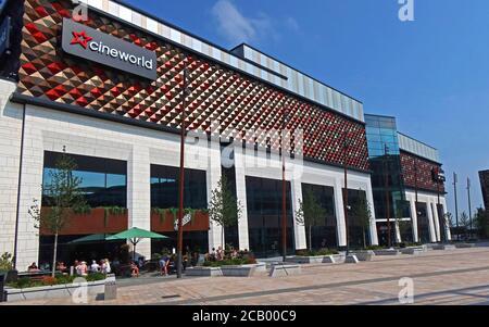 Cineworld,Time Square,Warrington,Cheshire,England,UK, new Vinci Construction development,retail and market place - Stock Photo