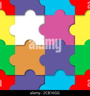 Seamless puzzle pattern. Colored mosaic, vector illustration. - Stock Photo