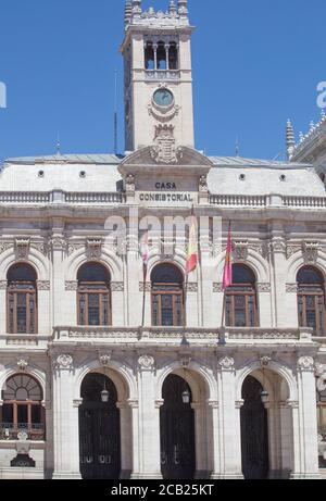 Valladolid, Spain - July 18th, 2020: Town Hall facade at Main Square of Valladolid, Spain. Emblematic location of the city, Spain Stock Photo
