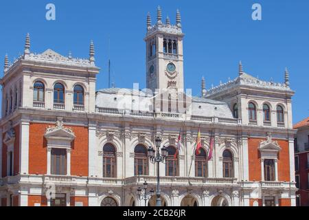 Valladolid, Spain - July 18th, 2020: Main Square or Plaza Mayor of Valladolid, Spain. Emblematic location of the city Stock Photo