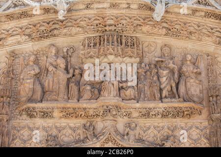 Valladolid, Spain - July 18th, 2020: Iglesia conventual de San Pablo. Main facade relief. Valladolid, Spain Stock Photo
