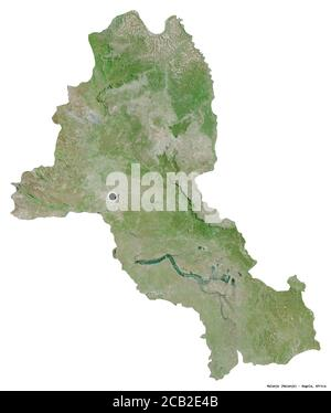 Shape of Malanje, province of Angola, with its capital isolated on white background. Satellite imagery. 3D rendering - Stock Photo