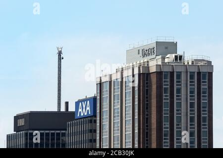 Syracuse, New York, USA. August 9, 2020.View of an Upstate University Hospital building and the AXA Towers in downtown Syracuse, NY - Stock Photo