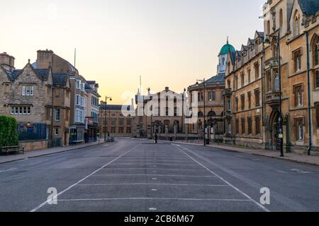 Broad Street in Oxford with no people or vehicles. The Clarendon Building and The Sheldonian Theatre in the background. Early in the morning. Oxford, - Stock Photo