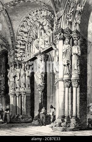 Portico de la Gloria. Cathedral of Santiago de Compostela. La Coruña, Galicia. Spain. Old XIX century engraved illustration from La Ilustracion Española y Americana 1894