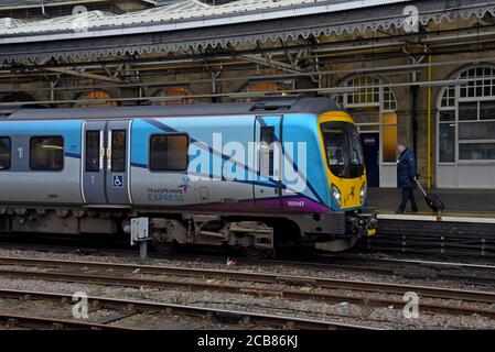A train driver approaches his Trans Pennine Express 185 class Desiro train at Sheffield Railway Station - Stock Photo
