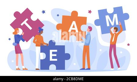 Teamwork of business people connect puzzles vector illustration. Cartoon flat businessman characters holding and connecting puzzle pieces, standing next to team word, partnership isolated on white - Stock Photo
