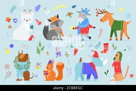 Christmas animal vector illustration set. Cartoon cute hand drawn zoo collection with funny animal characters enjoy xmas holidays, dressed in winter costumes or accessories, sweater, hat and scarf - Stock Photo
