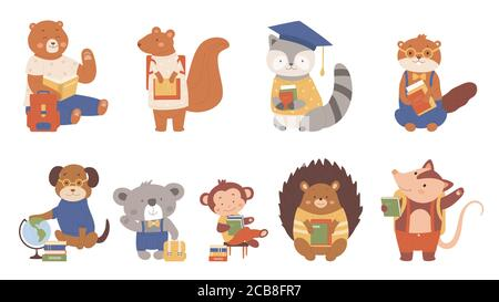 Animals read books vector illustration. Cartoon flat clever animalistic booklover characters collection with zoo or pet students or pupils reading and studying at school, schooling isolated on white