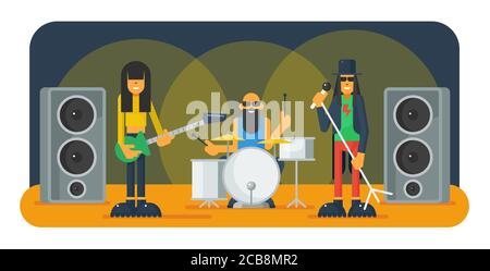 Rock band flat vector illustration. Guitarist, vocalist and drummer on scene cartoon characters. Music band on festival party. Musicians performing, singing on stage. Rock-n-roll concert - Stock Photo