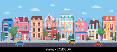 Old european town cartoon vector illustration panorama. Horizontal traditional cityscape from road and cars, street in sunny day. Background with blue sky, clouds, trees, funny three storey buildings - Stock Photo