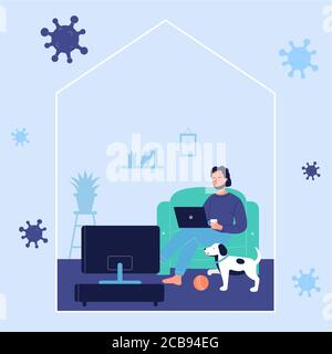 Young man resting on sofa and working online with laptop computer at home with dog during corona virus covid-19 time. Stay at home to prevent coronavirus disease, quarantine self isolation concept