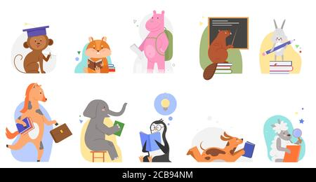 Animals study at school vector illustrations. Cartoon flat cute zoo animal kid characters reading books, learning alphabet abc by textbook, teaching or studying education concept set isolated on white