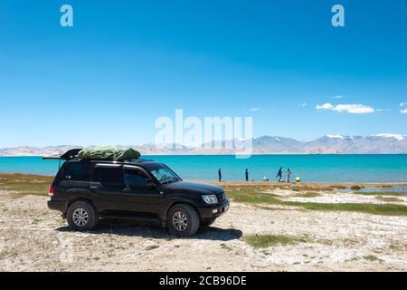 Pamir Mountains, Tajikistan - Karakul Lake in Gorno-Badakhshan, Tajikistan. It is located in the World Heritage Site Tajik National Park - Stock Photo