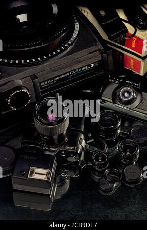 27 Feb 2009 Vintage Pentax Auto 110 analog camera with Flash winder and Kodak pocket CAROUSEL 300 with Slide Tray