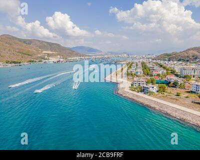 Aerial view of small boat flowing in sea, travel and vacation concept Stock Photo