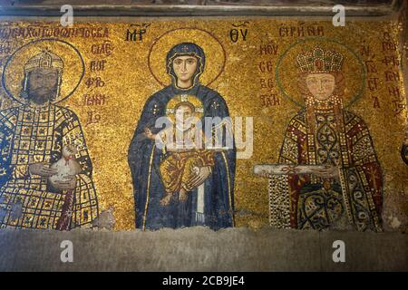 Central figure of Virgin Mary with infant Jesus in the Byzantine mosaic on the upper gallery inside Hagia Sophia. Istanbul. Turkey. - Stock Photo