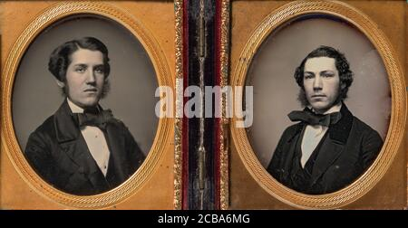 Double Plate: Two Men with Sideburns, 1850s. - Stock Photo