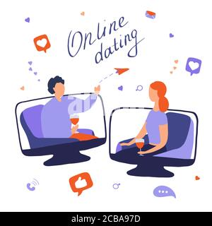 Online dating concept. Young woman and man talking online. Couple met on dating site and communicate on Internet. Long distance relationships