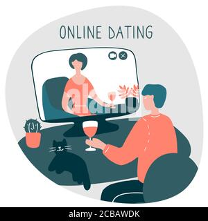 Young man sits in front of computer and talks with woman online. Girl and guy met online and build relationship at distance. Dating websites, internet