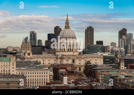 Elevated View of the St. Paul's Cathedral in the City of London, UK Stock Photo