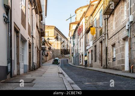 Santiago de Compostela, Spain - July 18, 2020: Street in historical centre of Santiago de Compostela