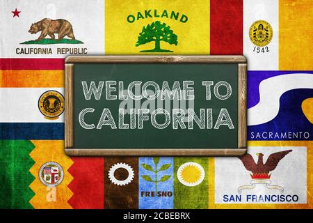 WELCOME TO CALIFORNIA - vintage background concept - Stock Photo