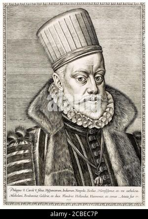 King Philip III of Spain (1578-1621), portrait engraving by Hieronymus Wierix, 1586 - Stock Photo