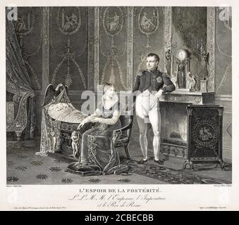 The Hope of Posterity: The Emperor Napoleon Bonaparte (1769-1821), his wife Empress Marie Louise of Austria (1791-1847) and their son King of Rome, Napoleon II (1811-1832), engraving by Adrien Pierre Francois Godefroy after Adolphe Roehn, 1811-1812 - Stock Photo