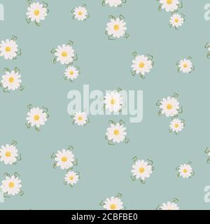 Daisy floral seamless pattern with wildflowers and meadow plants.