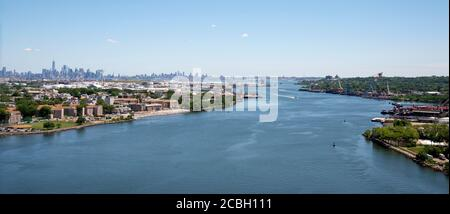 Views of NYC and Bayonne from Bayonne Bridge - Stock Photo