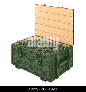 Ammo crate with hand grenades, 3D rendering isolated on white background - Stock Photo