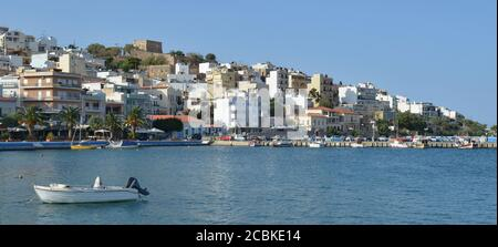 Fishing boats in Sitia Harbour on the Greek island of Crete - Stock Photo