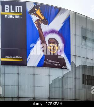 Justice for Sheku Bayoh mural on the side of the Usher Hall, Edinburgh, Scotland, UK - Part of the BLM Mural Trail. - Stock Photo