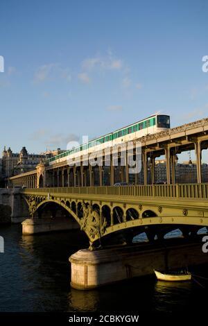 Train on Bir-hakeim Bridge, Bateau Mouche, River Seine, Paris, France