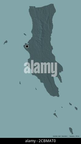 Shape of Zanzibar West, region of Tanzania, with its capital isolated on a solid color background. Colored elevation map. 3D rendering - Stock Photo
