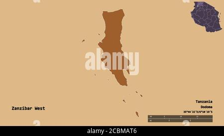 Shape of Zanzibar West, region of Tanzania, with its capital isolated on solid background. Distance scale, region preview and labels. Composition of p - Stock Photo